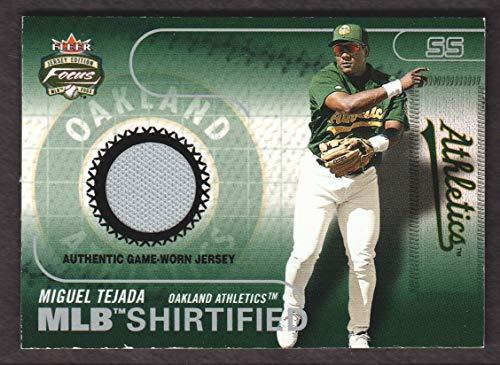 2003 Fleer Focus JE Baseball MLB Shirtified JERSEY #MT Miguel Tejada Athletics 2003 Fleer Mlb Baseball