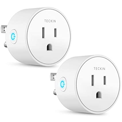 Smart Plug Works with Alexa Google Assistant IFTTT for Voice Control,  Teckin Mini Smart Outlet Wifi Socket with Timer Function, No Hub Required,  FCC