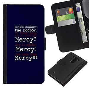 KLONGSHOP // Tirón de la caja Cartera de cuero con ranuras para tarjetas - Misericordia Cita divertida Médico Broma positividad - LG G3 //