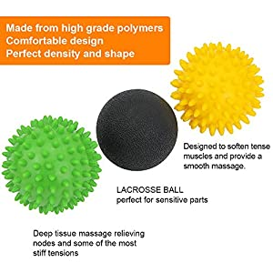 Zilong 3 Pack Massage Ball for Feet ,Back ,Myofascial Release,Muscle Knots,Acupressure,Deep Tissue Massage ,Trigger Point Therapy,Pressure Point Lacrosse Exercise Massage Balls ,Rollers
