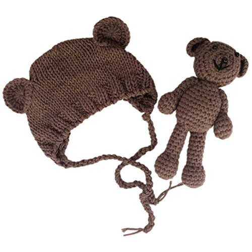 - Jastore Infant Newborn Photography Prop Photo Crochet Boys Girls Knit Toy Bear Hats (Brown)