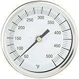 "PIC Gauge B3B4-Q 3"" Dial Size, 50/500°F, 4'' Stem Length, Back Angle Connection, Stainless Steel Case, 316 Stainless Steel Stem Bimetal Thermometer"