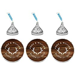 Andaz Press Personalized Wedding Chocolate Drop Labels, Round Bride Groom Names and Date, Deer Antlers on Rustic Wood, 240-Pack, Custom, For Hershey's Kisses Party Favors