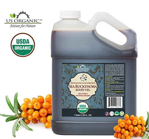 US Organic Sea Buckthorn Berry Fruit Oil Bulk pack, USDA Certified Organic,100 Pure Natural, Supercritical CO2 extracted, Virgin, Unrefined 128 oz 1 Gallon