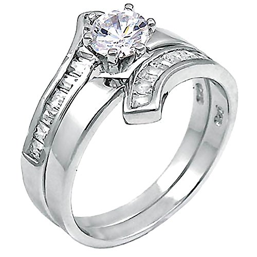 Sterling Silver 1.8ct IOF CZ Contemporary Flared Bypass 2 pc Wedding Ring Set, Caprina sz 9.0