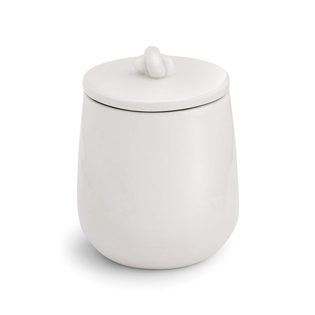 Woven Glossy White 4 x 3 Luxe Ceramic Stoneware Sugar Bowl With Knot Lid