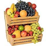 Golden Nature Bamboo Fruit Basket – 2 Tier Fruit