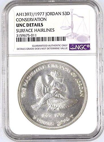 1397 JO 1397 1977 Jordan Silver 3 Dinars 1oz Hussein Cons coin Good NGC