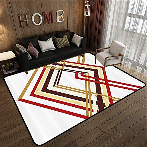 Low-Profile Mats,Modern,Retro Style Diamond Like Border Line Geometrical Artwork Design,Ruby Caramel Brown and Tan 55
