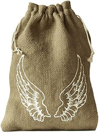 5 bolsas de yute, bolsitas de yute, con estampado en forma de alas ...