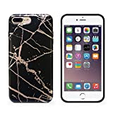 iPhone 7 plus case,CAOUME White Rose Gold Marble Case Protective TPU Soft Rubber Silicone Cover Phone Case for Apple iPhone 7 Plus / iPhone 8 Plus [5.5 inch]