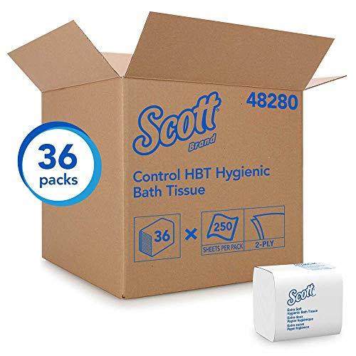 Interfold Bath Tissue - Scott, KCC48280, Control Hygienic Bath Tissue, 2-Ply, 250/Pack, 36/Carton, Sold As 1 Carton (Total 9000 Sheets)