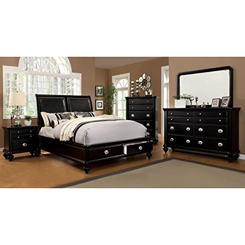 Laguna Hills English Style Black Finish Cal King Size 6-Piece Bedroom Set