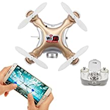 WiFi & Remote Controlled Mini Quadcopter, Volarvin® - Super Micro Quadcopter RC Drone, Camera Led Lights & Remote 2.4G 4 Channel 3D Gyro 6 Axis with 360 Stunt Spin Flips (Only 4.5x4.5x2.5cm) in Gold