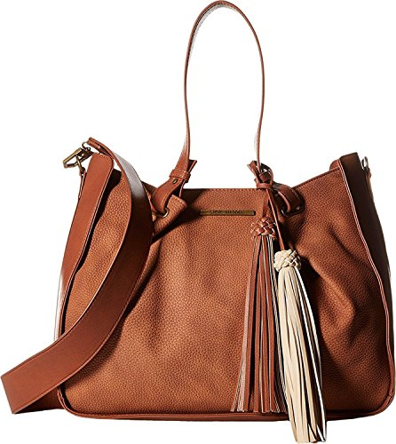 Boho-Chic Vacation & Fall Looks - Standard & Plus Size Styless - Steve Madden Women's Balex Satchel Cognac/Cognac/Taupe Tassels Satchel