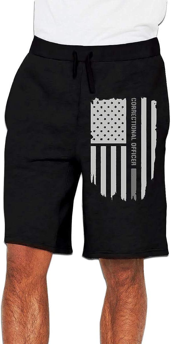 Nx55Ol@KU Mens Fashion Thin Silver Line Correctional Officer Jogger Sweatpant Training Gym Shorts