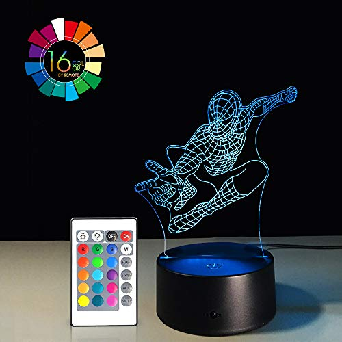 Night Light for Kids Birthday Gift 3D Illusion Super Hero Lamp LED Desk Gifts Smart Touch & Remote Control Bedroom Nursery Light 16 Color Display (Spiderman -