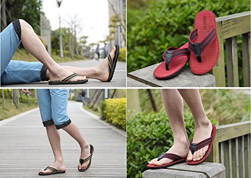 Flip-folps Happy Lily Non-slip EVA Rubber Double Sole Pool Shoes Cotton Rattan Uppers Y-style Thong Open Tote Sandals Moisture Wicking Anti-stink Indoor or Outdoor Shoes Casual Footwear Slippers for A red DsFKa5Hx4F