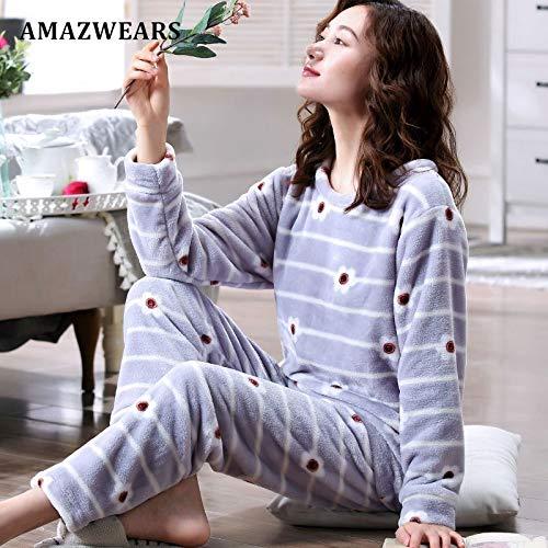 Manga Ropa Terciopelo Mujer Mujeres Coral Larga Jylw Invierno Grey De Cuello Dormir Lindo Redondo Pijamas Sun qp8Rfw