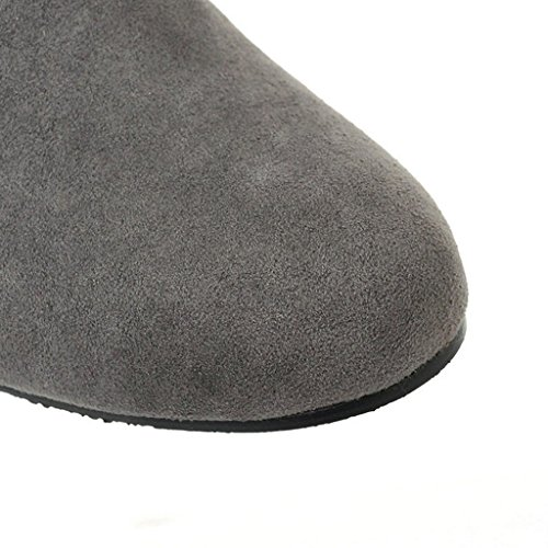 Minetom Women Boots Gray Fashion Snow High Overknee Winter Flat Wedge Boots Boots Fur Warm ZHrRHWcB