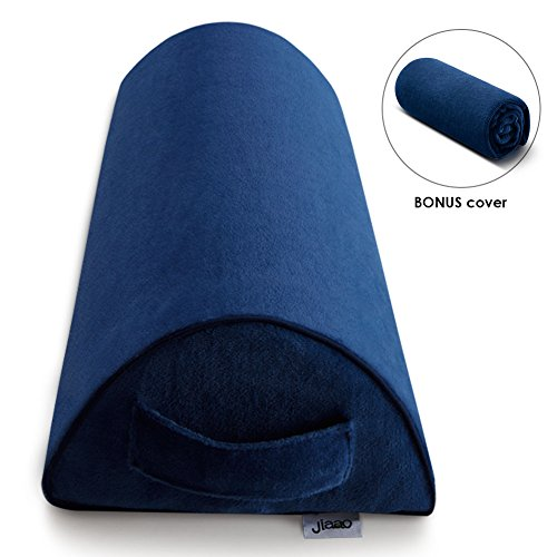 Half-Moon Bolster Pillow with BONUS Cover - Jiaao Orthopedic Knee Pillow for Pain Relief, Top Rated Memory Foam Leg Elevator for Side & Back Sleepers, Including Dual Removable Cover with Zipper, Navy