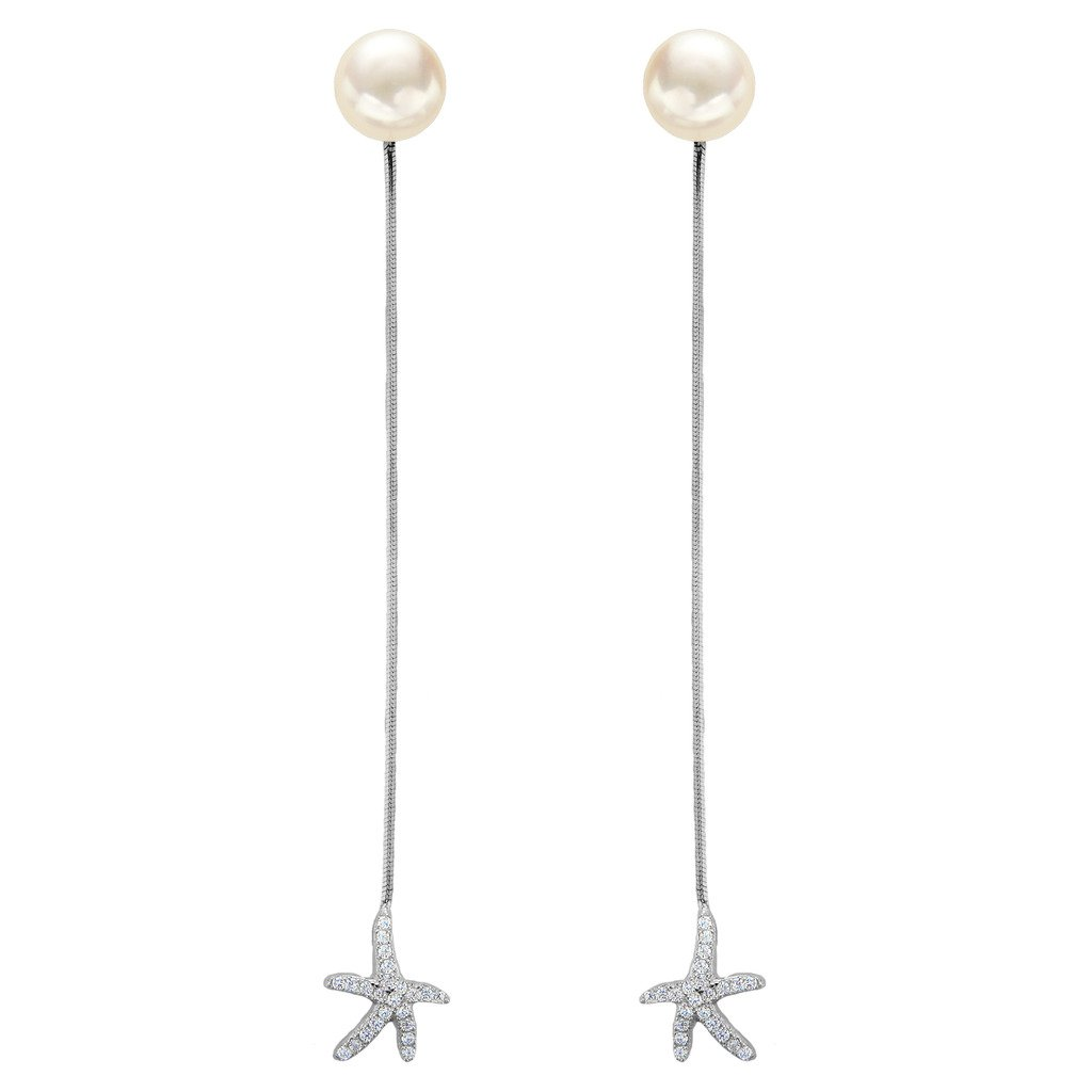 EleQueen 925 Sterling Silver CZ AAA Button Cream Freshwater Cultured Pearl Starfish Bridal Modern Ear Jacket Drop Earrings 9mm