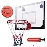 Goplus Mini Basketball Hoop 18x12' Over-The-Door Indoor Sports Exercise w/ Ball and Hand Pump Set
