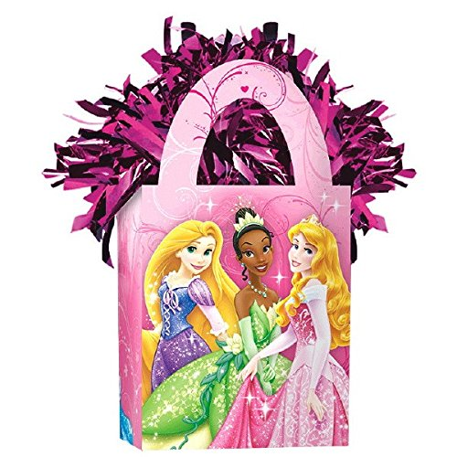 Amscan Girls Disney Princess Sparkle Mini Tote Party Balloon Weight, 5.7 oz, Pink