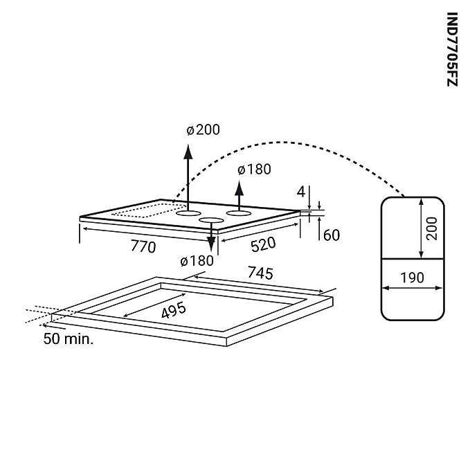 Placa de inducción 77cm (Autárquica, 9,7kW, 9 pasos, 5 zonas ...
