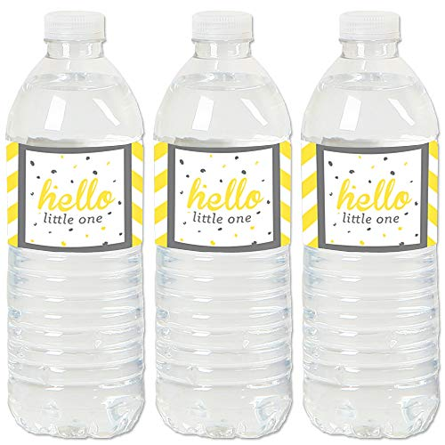 Hello Little One - Yellow and Gray - Neutral Baby Shower Water Bottle Sticker Labels - Set of 20 ()