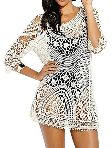 PAKULA Women's Sexy Hollow Crochet Swimsuit Cover Up Dress, One Size, White