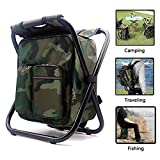 AMERIGUY Cooler Fishing Backpack Chair, Folding Camping Chair Backpack Stool Oxford Fabric Double Layer Pearl Cotton Cooler Bag Fishing,Beach,Camping,House Outing BBQ.