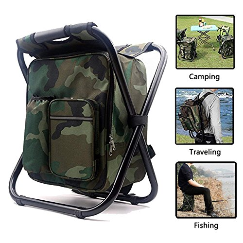 AMERIGUY Cooler Fishing Backpack Chair, Folding Camping Chair Backpack Stool Oxford Fabric Double Layer Pearl Cotton Cooler Bag Fishing,Beach,Camping,House Outing BBQ. by AMERIGUY