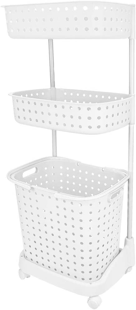 3 Tier Rolling Laundry Basket W Shelves Storage Organizer for Clothes Detergent Great for Bathroom Kitchen Laundry Room White
