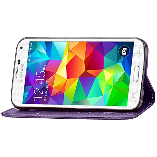 SRY-Funda móvil Samsung Samsung S5 Mini funda, caja de cuero PU color sólido retro con correa de mano funda folio cartera para Samsung S5 Mini ( Color : Black , Size : Samsung S5 Mini ) Purple