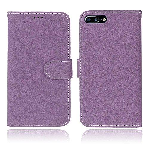 iPhone Case Cover Solid Color Premium PU-Leder Tasche Cover matt-Retro-Flip-Stand Hülle Geldbörse mit Karte Schlitze Foto Frames für Apple IPhone 7 IPhone7 Plus 7 + ( Color : 8 , Size : Apple IPhone 7