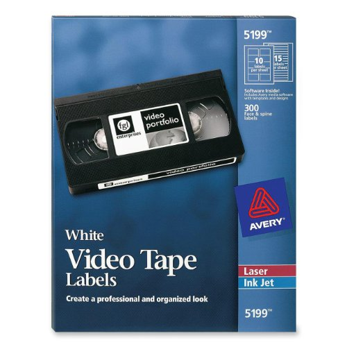 - Avery Laser Video Tape Cassette Labels Face and Spine