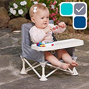 hiccapop Omniboost Travel Booster Seat with Tray for Baby   Folding Portable High Chair for Eating, Camping, Beach, Lawn, Grandma's   Tip-Free Design Straps to Kitchen Chairs - Go-Anywhere High Chair