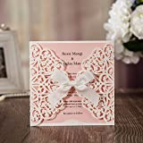 JOFANZA Wedding Invitations White Square Laser Cut Cards with Bow Lace Sleeve for Engagement Baby Shower Birthday Quinceanera (Set of 50pcs) CW6177