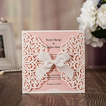 JOFANZA Wedding Invitations White Square Laser Cut Cards With Bow Lace  Sleeve For Engagement Baby Shower