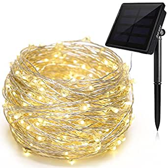 Solar String Lights Ankway 200 LED Fairy Lights 8 Modes 3-Strands Copper Wire 72 ft Waterproof IP65 Solar String Lights Outdoor Indoor Patio Garden Christmas Decorative (Warm White)