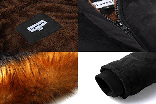 Fourrure Femme Manteau Noir avec Style Parka Militaire Capuche Hiver iLoveSIA 5ROqII