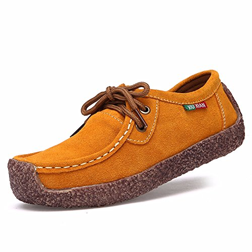 Women's Loafers Nubuck Leather Snail Shoes Lace up Casual Flats Fashion Sneakers Yellow 10 by Fiery Love