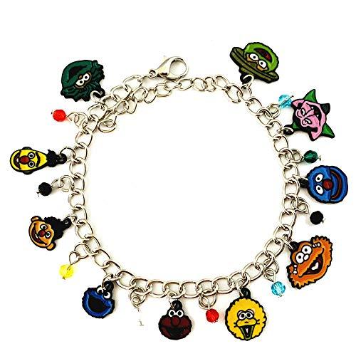 (Athena Brands Sesame Street Fashion Novelty Charm Bracelet Cartoon Comic Series with Gift Box)