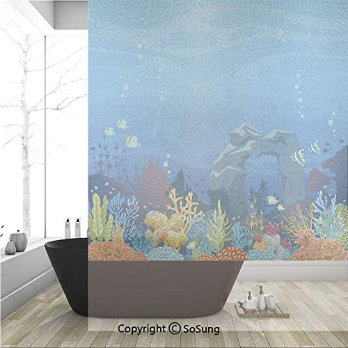 (3D Decorative Privacy Window Films,Colorful Coral Reef with Fishes and Stone Arch Under the Sea Natural Seascape Decorative,No-Glue Self Static Cling Glass film for Home Bedroom Bathroom Kitchen Offic)