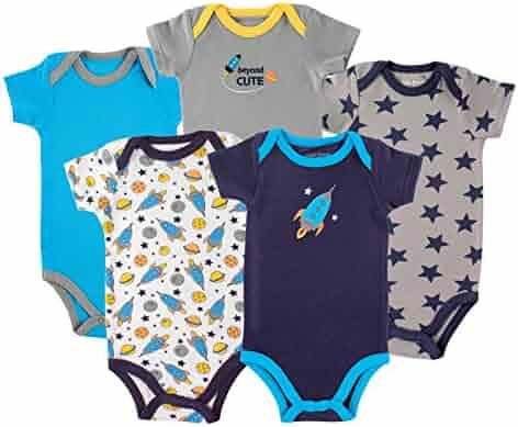 Luvable Friends Unisex Baby Cotton Bodysuits, Rocket Short Sleeve 5 Pack, 12-18 Months (18M)