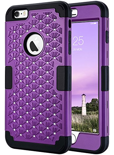iPhone 6s Plus Case, iPhone 6 Plus Case Glitter, ULAK 3D Bling Rhinestone Heavy Duty Shockproof Hybrid Hard PC Soft Silicone Rubber Protective Case for iPhone 6 Plus / iPhone 6s Plus 5.5inch - Purple