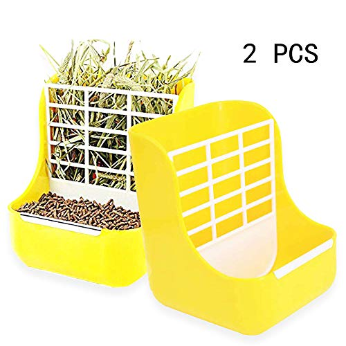 - Wang-Data Hay Food bin Feeder for Rabbit Guinea Pig Chinchilla,2 in 1 for Grass and Food