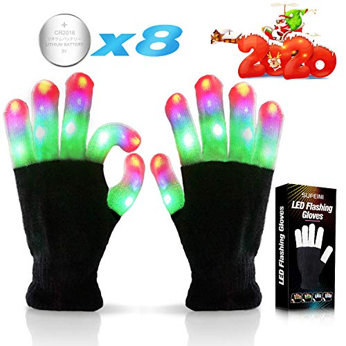 Halloween Parties Ideas 2019 (Kids Led Flashing Finger Lights Gloves 3 Colors 6 Modes for 3 4 5 6 7 8 9 10 11 12 13 Years Old Boys Girls Autistic Children top Toy)