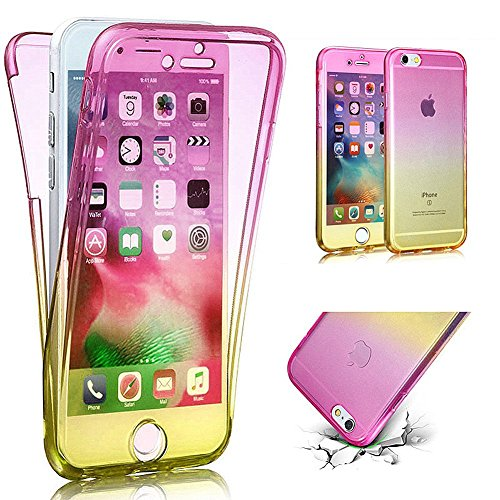 PHEZEN iPhone SE Case,iPhone 5S Case, Scratch Proof 360 Front and Back Full Body Protection Flexible TPU Bumper Case Anti-Scratch Protective Case for iPhone SE/5/5S, Gradient Pink Yellow (Iphone 5 Cases Front And Back Protection)
